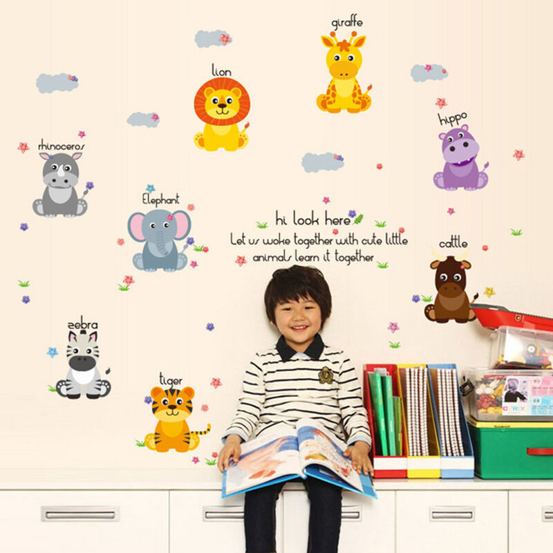 动漫可爱装饰贴画儿童房幼儿园防水墙贴动物排排坐贴后约12550cm大