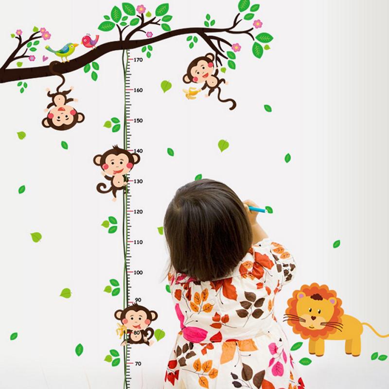 吉朵芸 儿童房幼儿园墙面装饰墙贴卡通动物贴画测量身高贴画 贴纸