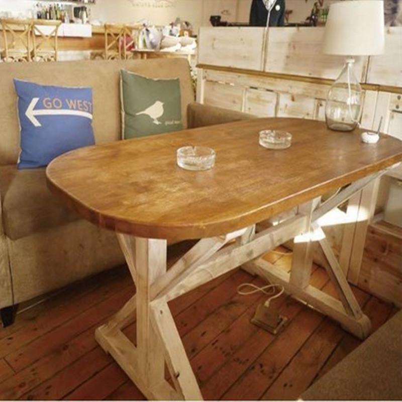 2016新款实木餐桌地中海美式乡村餐桌复古做旧咖啡馆桌椅家用餐桌椅