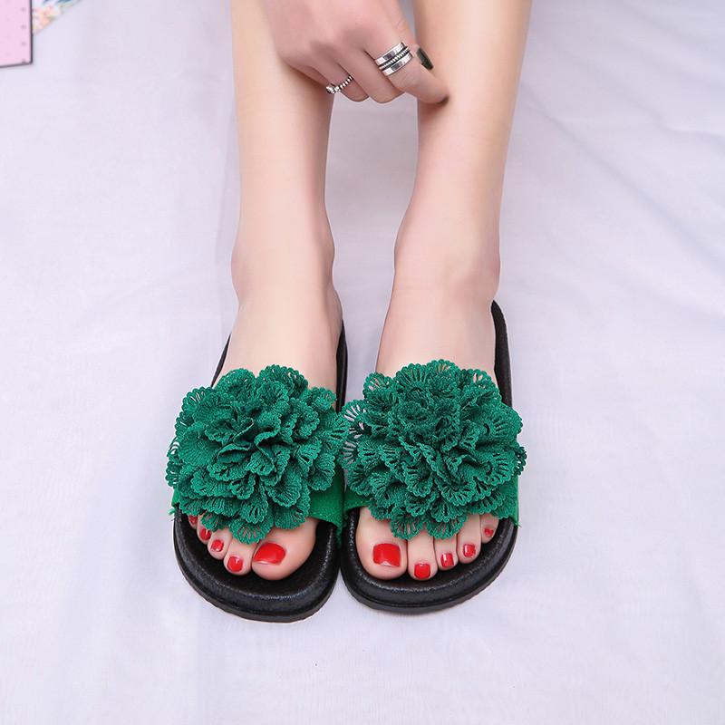 朵维尔米-拖鞋女蕾丝花朵夏季新款玫瑰花大花朵一字型磨砂夏凉拖平底