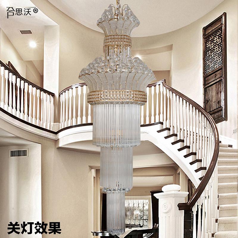 欧式华复式楼水晶大吊灯别墅楼梯间灯具旋转楼梯灯饰长吊灯大气