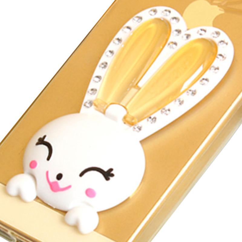麦路 手机壳可爱兔子支架保护壳水钻防摔壳挂绳 适用于iphone5s/苹果