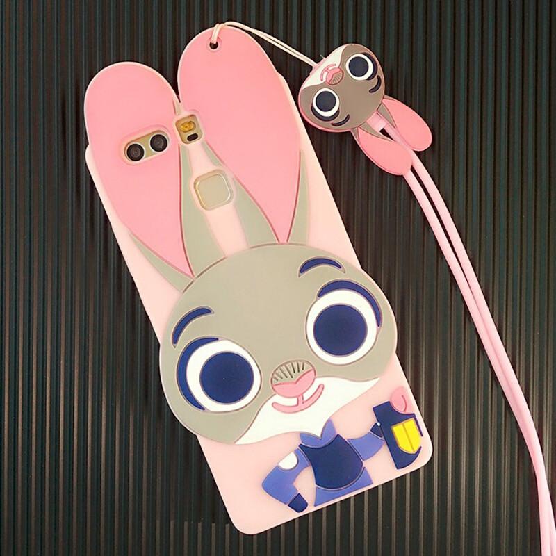 聆听华为荣耀5c手机壳卡通可爱兔朱迪p9挂绳脖畅享5s防摔硅胶保护套女