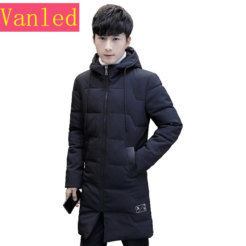 青少年棉衣男韩版潮流冬季男士外套中学生连帽中长款加厚男生棉服图片