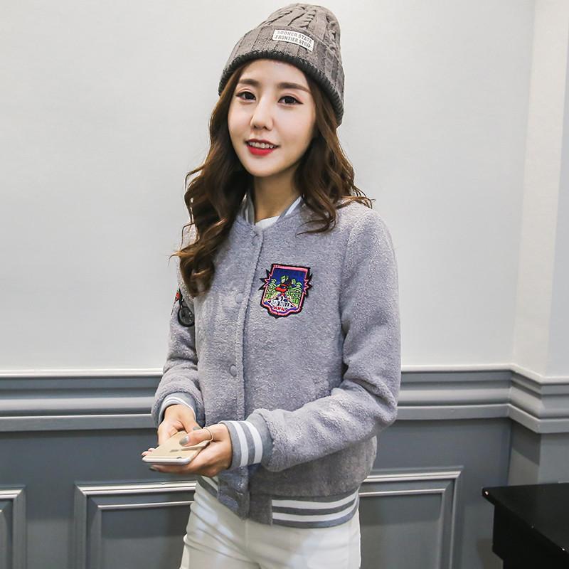 2017新款韩版女士春冬装外套印花立领女棒球服运动休闲夹克女