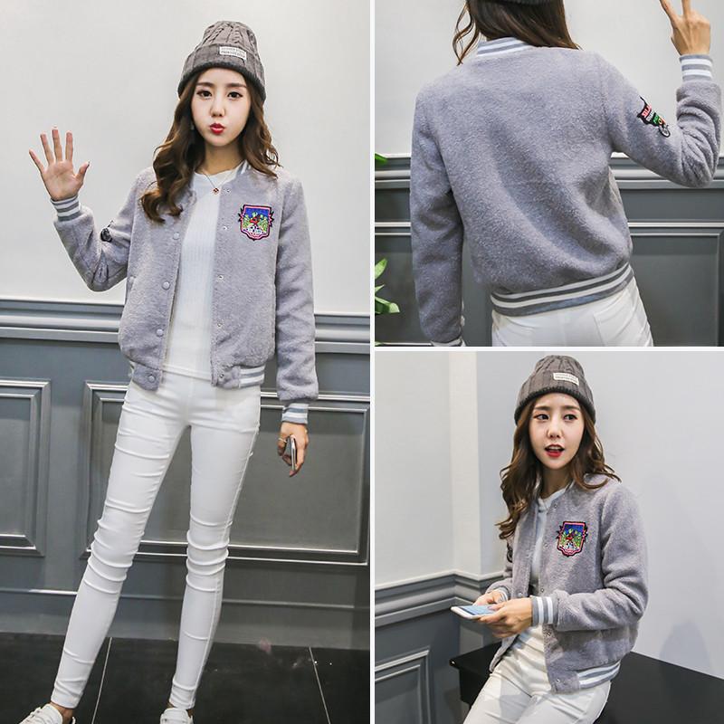 2016新款韩版女士春冬装外套印花立领女棒球服运动休闲夹克女