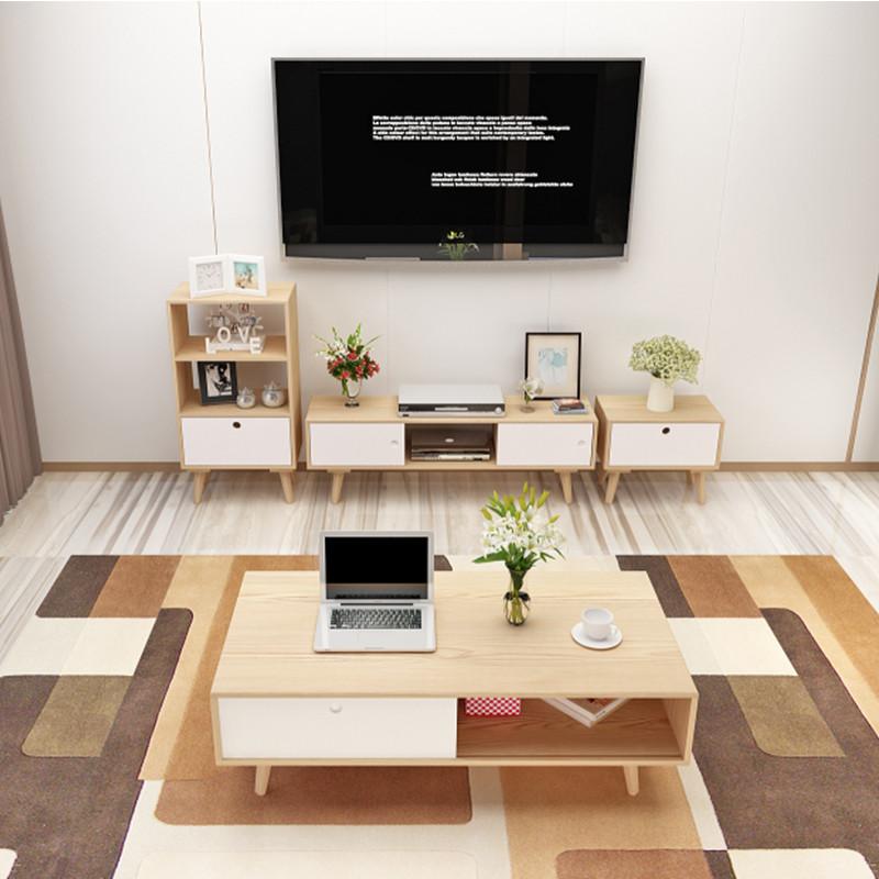 电视柜简约茶几组合宜家日式现代卧室北欧实木小户型电视机柜地柜图片