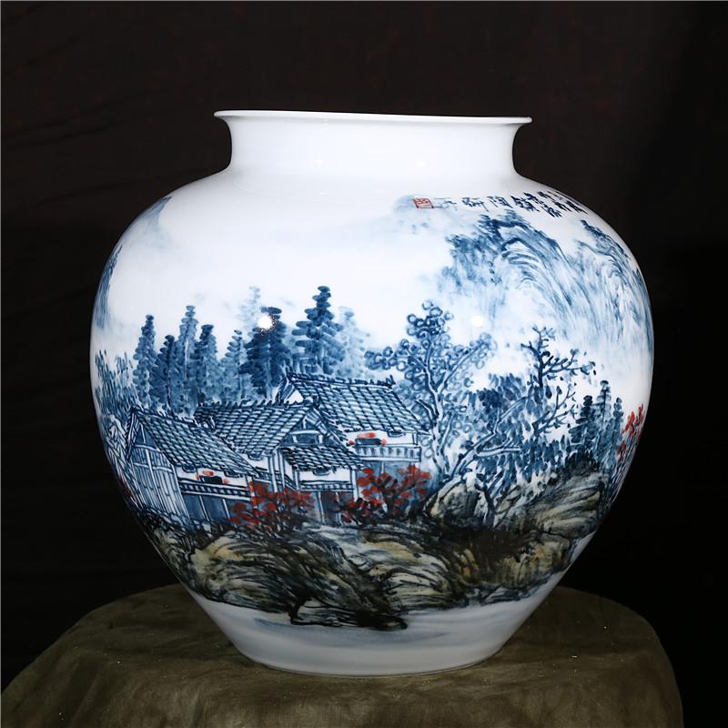 景德镇陶瓷 大师王斌手绘江山多娇花瓶 客厅家居工艺品摆件