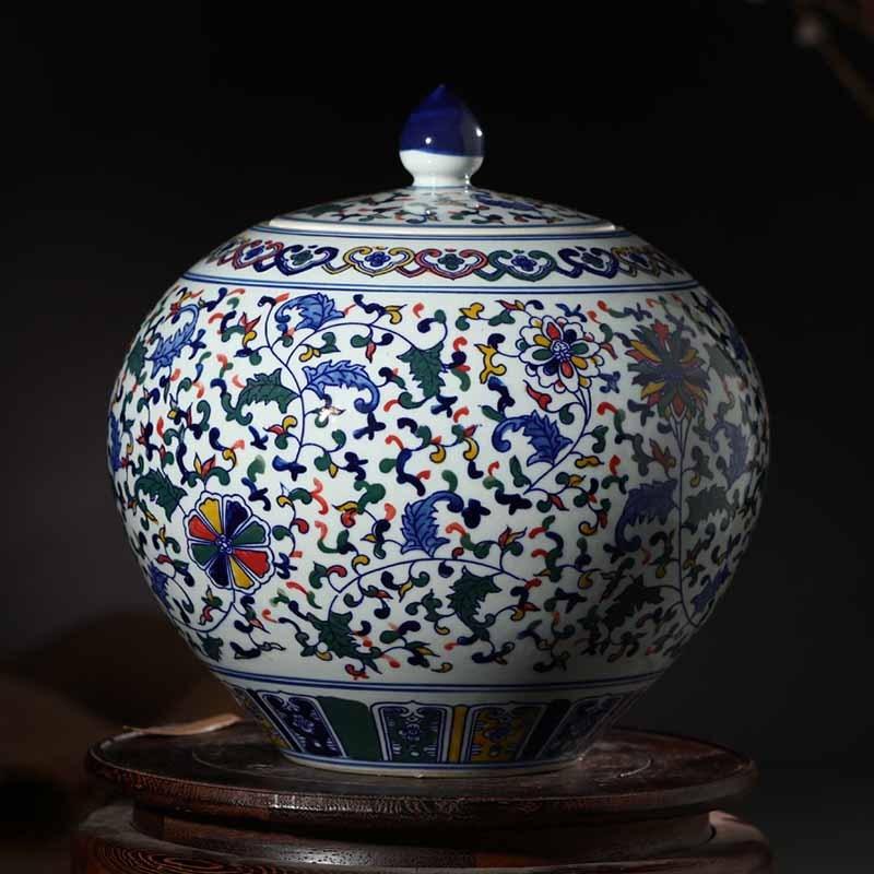 景德镇陶瓷器 手绘青花瓷储物罐盖罐家居饰品 客厅装饰器皿罐子摆件