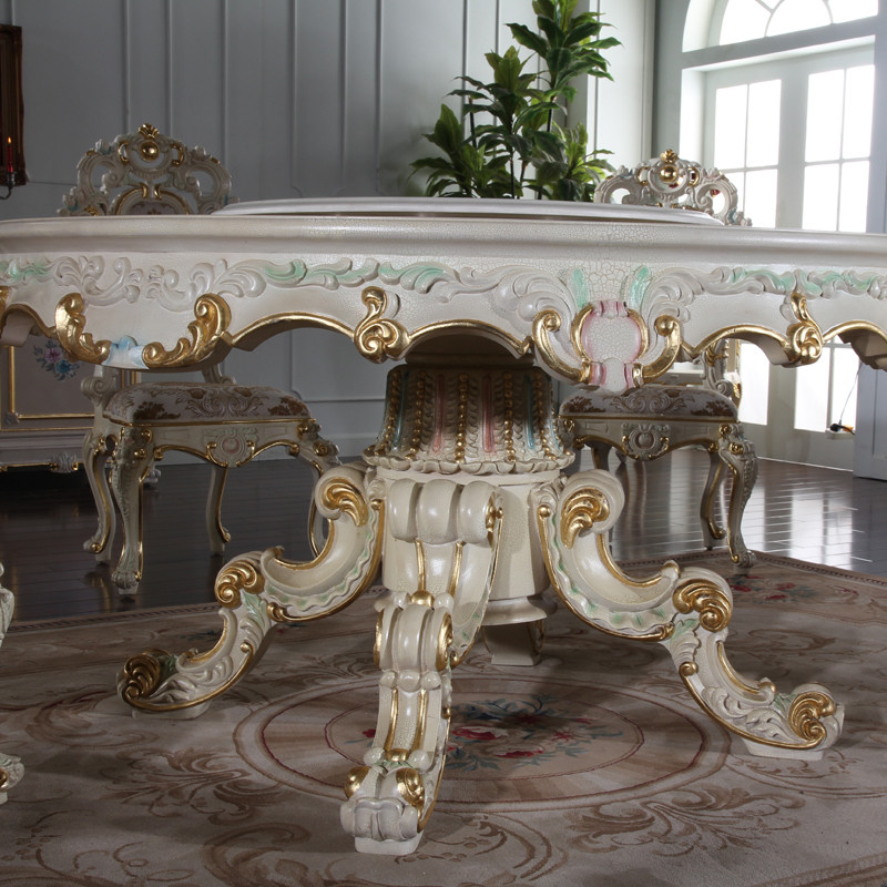 fp家居欧式宫廷餐台 法式豪华古典餐桌椅组合 巴洛克欧式桌子欧式圆桌