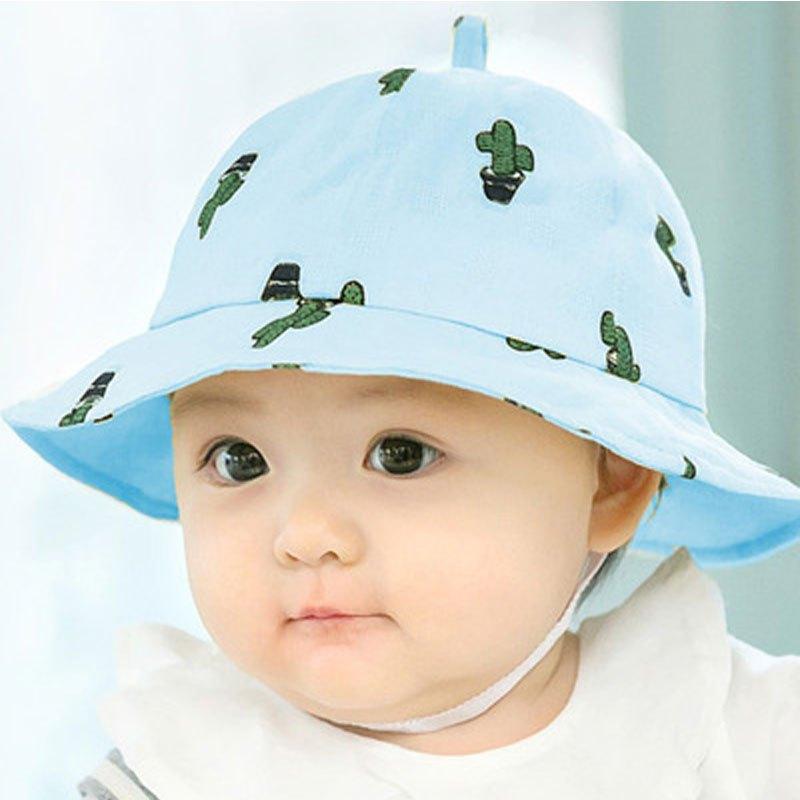 6-12个月新生儿盆帽太阳帽2017新品夏季小孩子夏天太阳帽可爱印花帽子