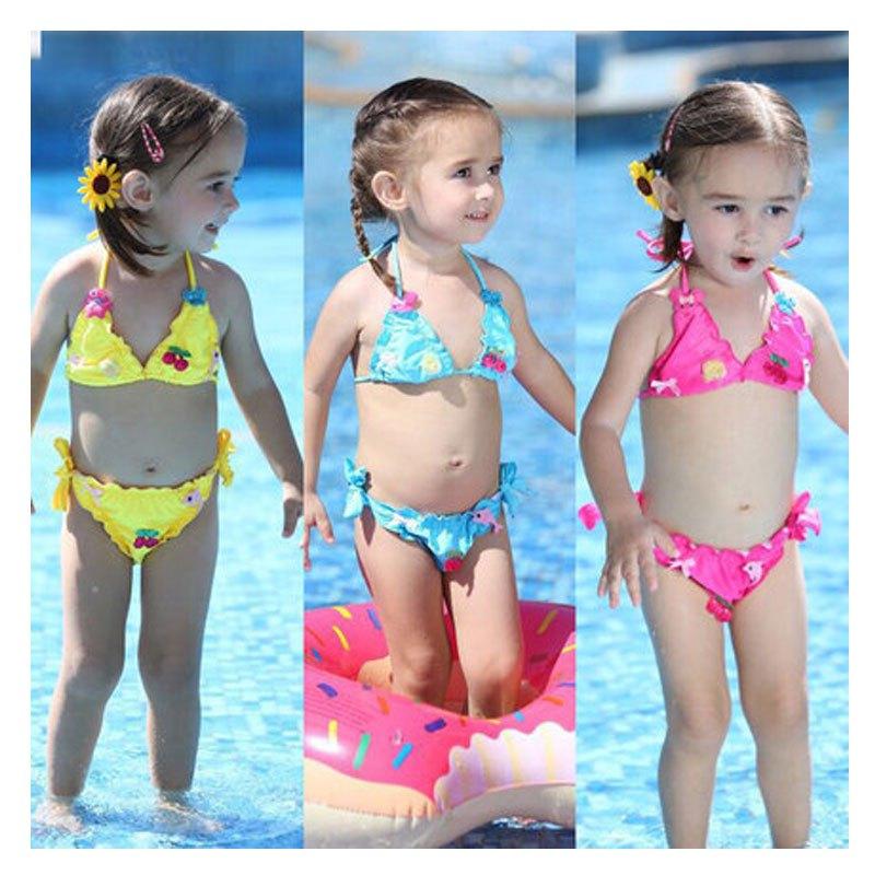 儿童泳衣女童比基尼宝宝游泳衣可爱公主女孩分体婴儿泳装2017新品可爱