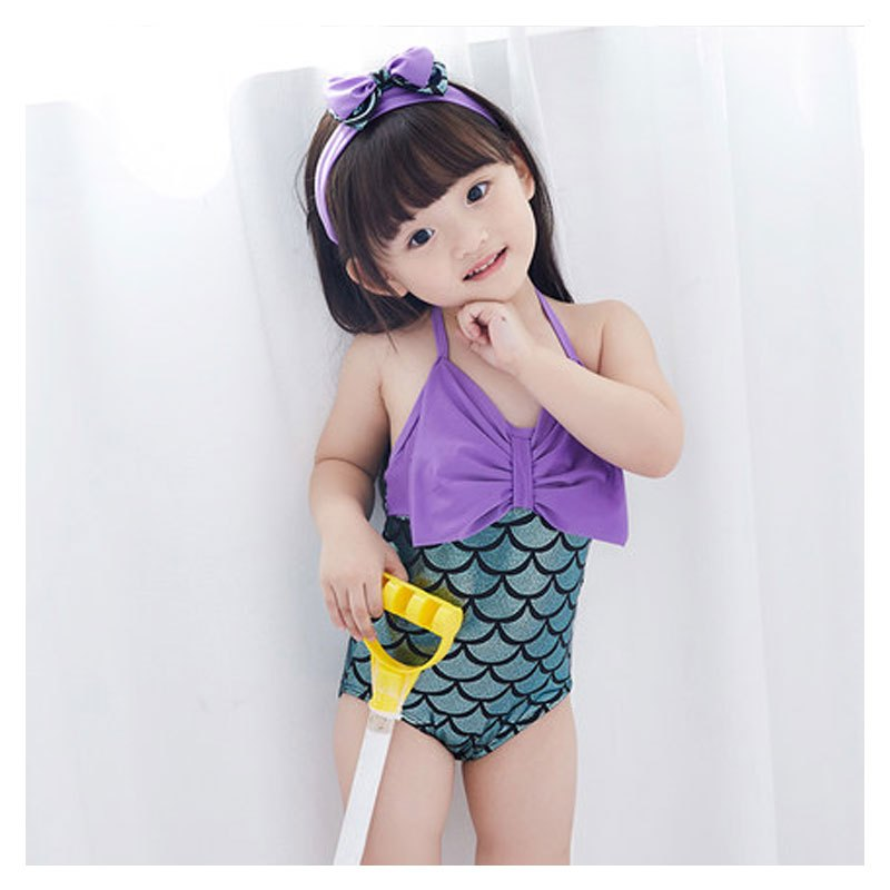 泳衣女孩婴儿幼儿泳装超萌公主女童小童韩版美人鱼连体游泳衣小女孩子