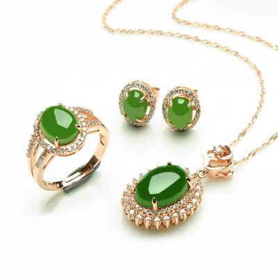 帛蘭梓韻 天然和田玉s925銀鍍玫瑰金鑲碧玉首飾三件套項鏈戒指耳環帶證書