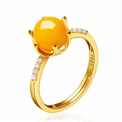 帛兰梓韵 925银镀金皇冠形镶圆珠蜜蜡戒指 琥珀女戒手饰品