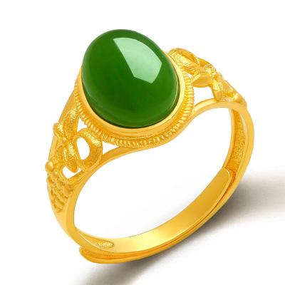 帛蘭梓韻 天然和田玉碧玉戒指足金黃金戒指金鑲玉女款活扣玉石指環