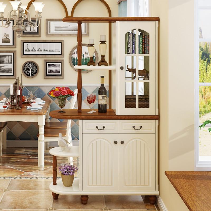方合子家具 地中海隔断柜酒柜 双面实木鞋柜 美式乡村图片