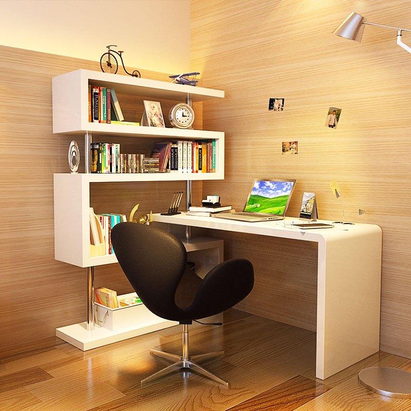 马氏皇庭旋转台式现代电脑桌 简约书架书桌组合 家用创意转角桌图片
