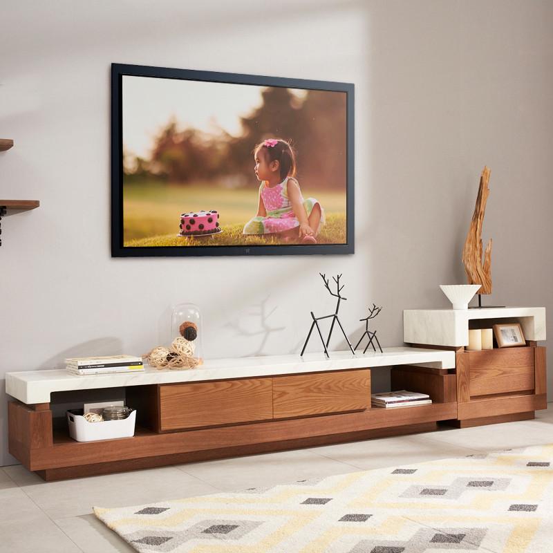 马氏皇庭大理石电视柜 现代北欧储物式小户型客厅组合胡桃色地柜