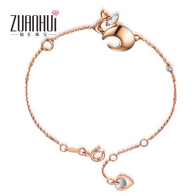 ZUANHUI鉆匯珠寶首飾 18K金鑲鉆手鏈女士 鉆石手鏈手環結婚宴會必備