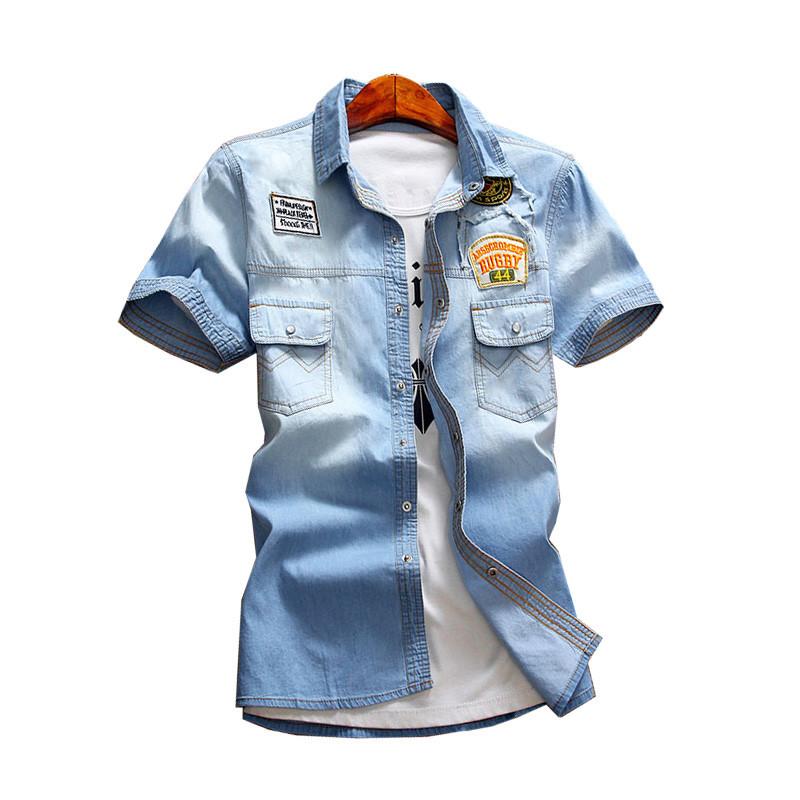 牛仔衫夹克夏装短袖衬衫牛仔衣翻领刺绣牛仔衬衣半截袖上衣薄外套男