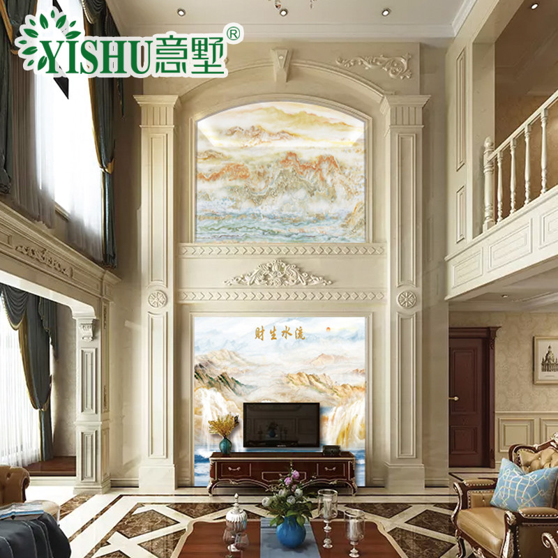 意墅 复式背景墙石材罗马柱边框造型3d高温微晶石电视