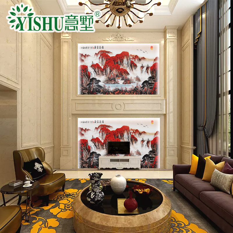 柱护墙板边框造型装饰3d高温微晶石瓷砖电视背景墙新中式整体墙面定制