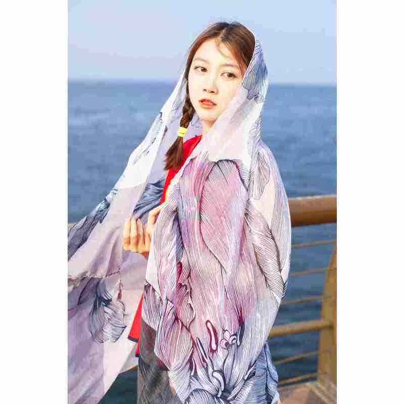2016春夏新款围巾女 拼接大花朵防晒丝巾海边沙滩丝巾