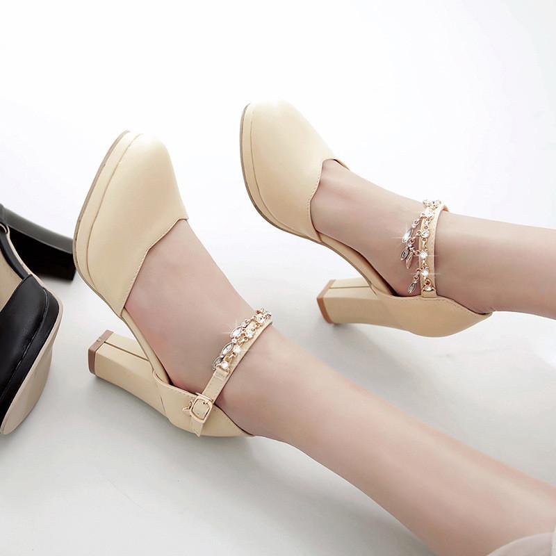 韩版2017新款水钻链子童鞋女儿童高跟鞋小女孩女童凉鞋夏季舞蹈鞋