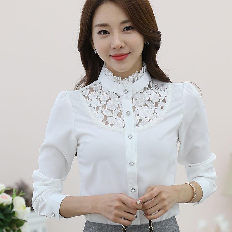 蕾丝白衬衣短袖女