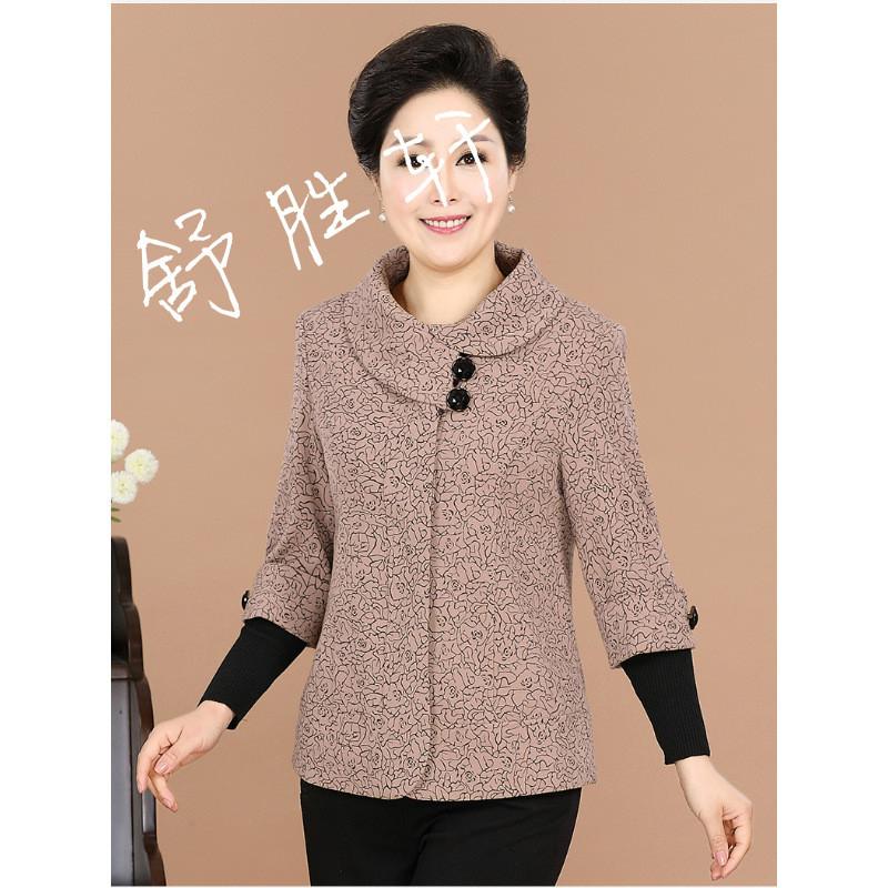 中老年人女裝春秋裝短款上衣大碼長袖新款媽媽裝春裝外套40-50歲圖片