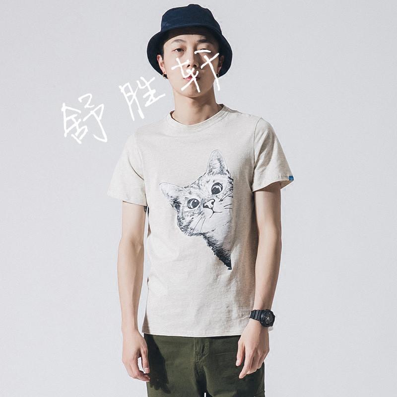 日系原创小清新卡通印花圆领短袖t恤青少年动物图案打底体恤潮tee