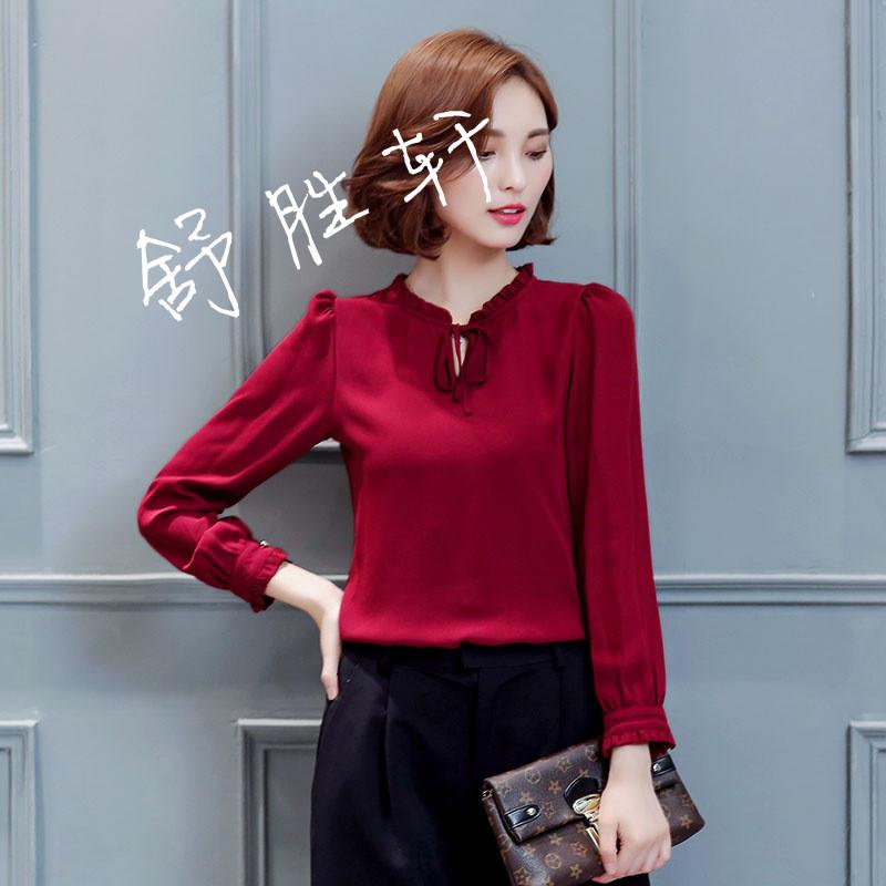 时尚小衫_女装秋装2018新款潮韩版女士雪纺衫长袖立领修身时尚小衫百搭上衣
