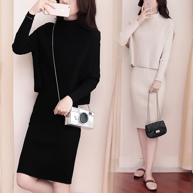 2017秋冬时髦中长款针织衫连衣裙套装女装无袖上衣时尚两件套新款