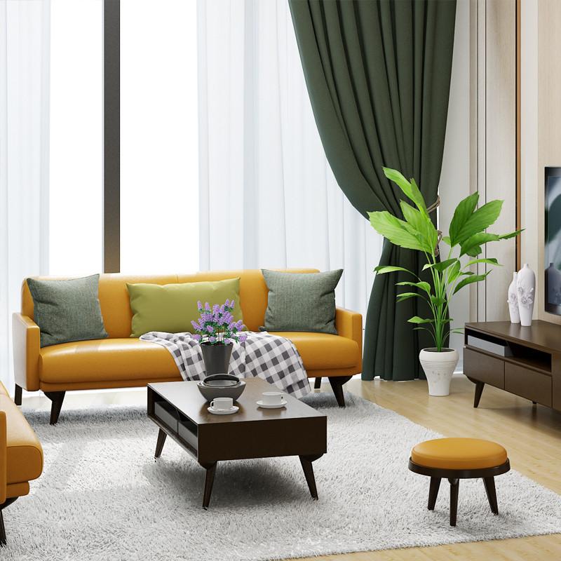 淮木 北欧风格家具 小户型三人组合皮沙发简约现代皮艺沙发
