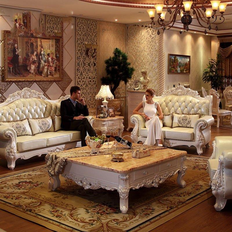 淮木(huaimu) 欧式实木雕花真皮沙发 住宅家具别墅客厅大户型组合头层
