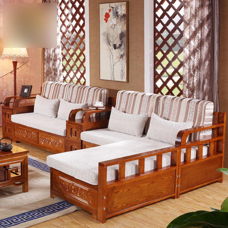 淮木(huaimu)新中式简约布艺水曲柳实木沙发组合
