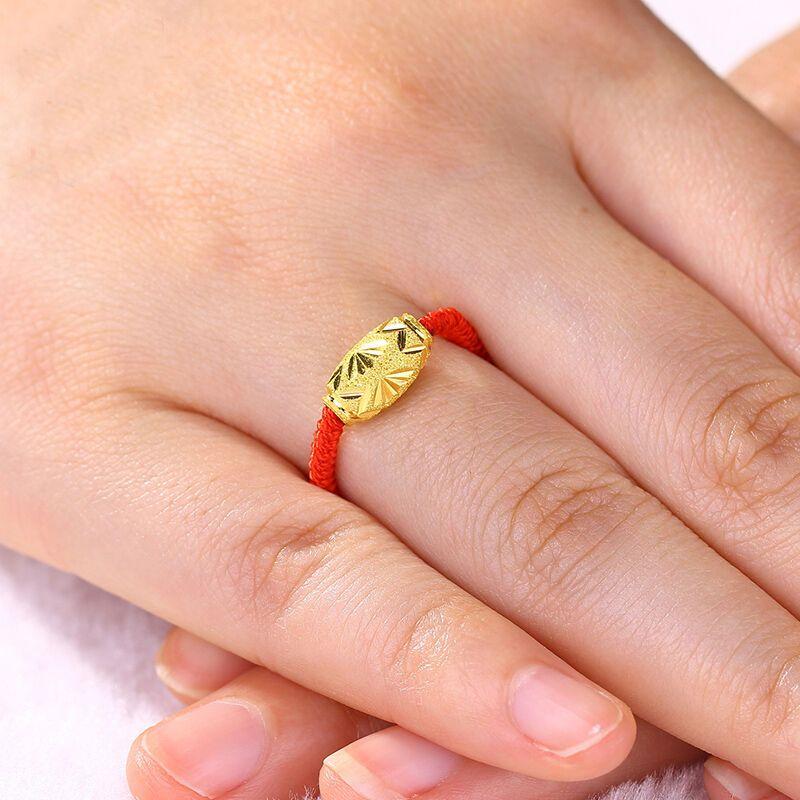 彩丽馆 足金编织红绳男女款情侣金戒指 金转运珠指环