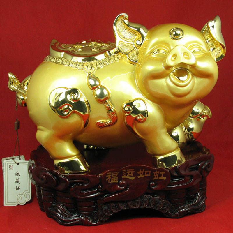 彩丽馆礼品之家超肥超可爱金猪摆件家居装饰品乔迁礼品餐厅餐桌猪摆设