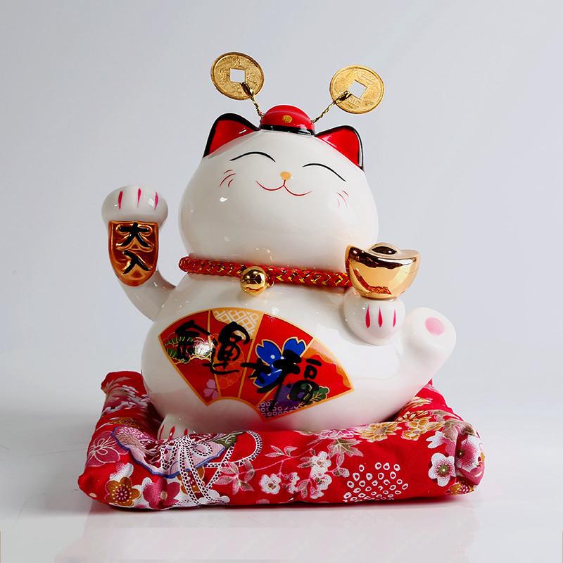 彩丽馆 陶瓷 招财猫存钱罐 送朋友小礼物 摆件 创意桌面装饰品