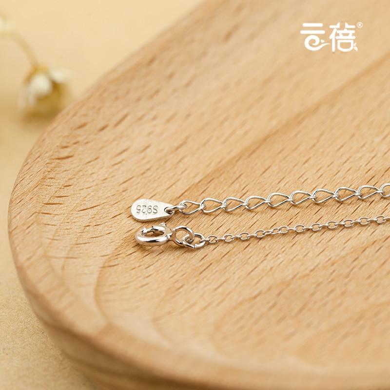 彩丽馆清新小树叶s925纯银项链女短款简约叶子气质银锁骨链时尚韩版