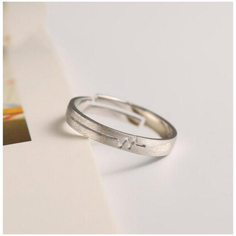 彩丽馆彩丽馆s925纯银饰品简约唯美拉丝素银心电图情侣对戒 戒指 指环图片