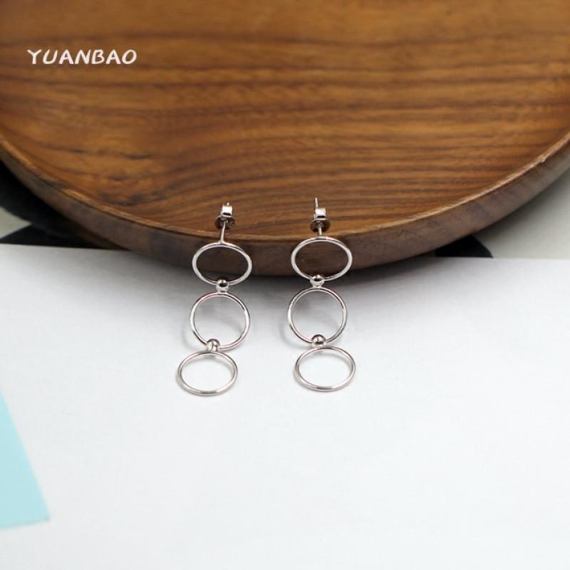 原创设计s925纯银圆圈耳环欧美极简风个性耳钉耳坠现代潮流耳饰品