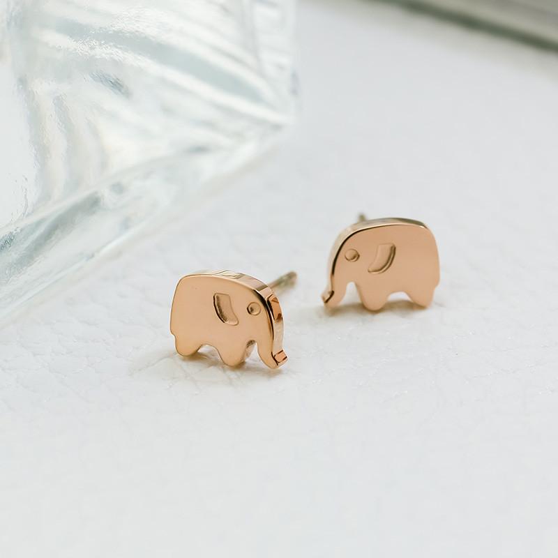 卡通可爱耳钉小象钛钢镀18k玫瑰金耳饰耳环韩国简约饰品首饰配饰送女