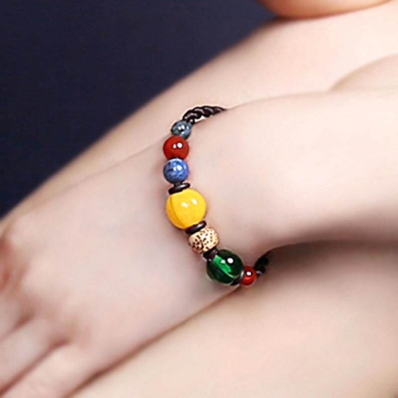 彩丽馆纯手工编织手链韩版本命年玛瑙转运珠手链女彩色饰品配饰送女