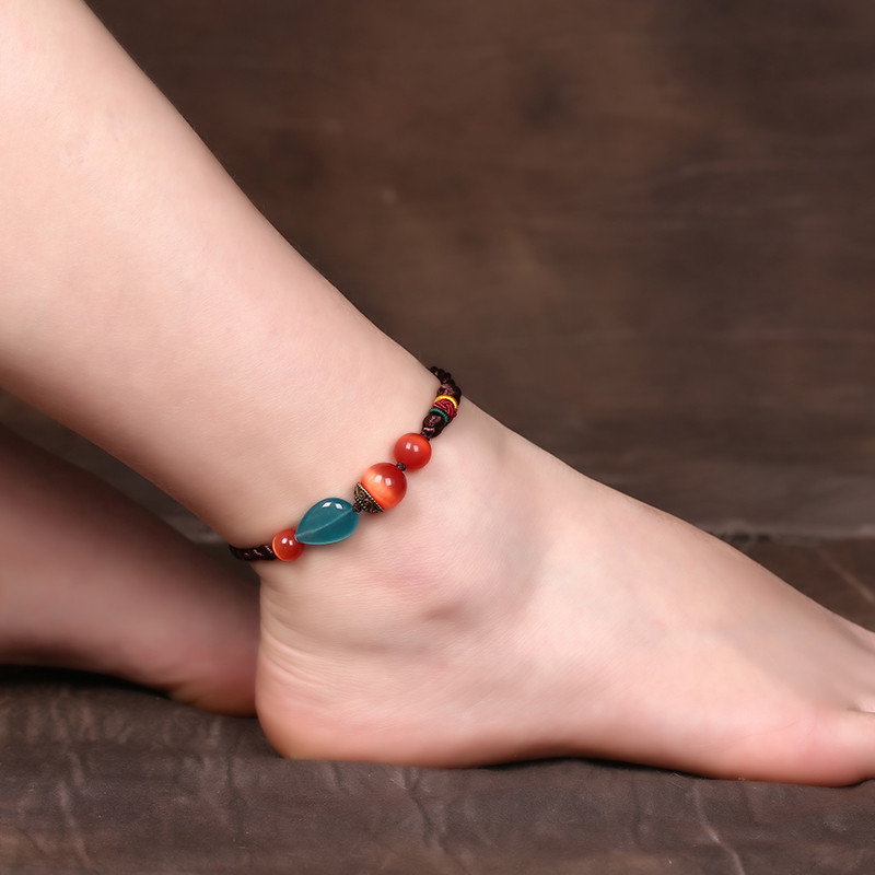 彩丽馆彩丽馆设计手工编绳脚链复古民族风女士足链简约个性百搭装饰品