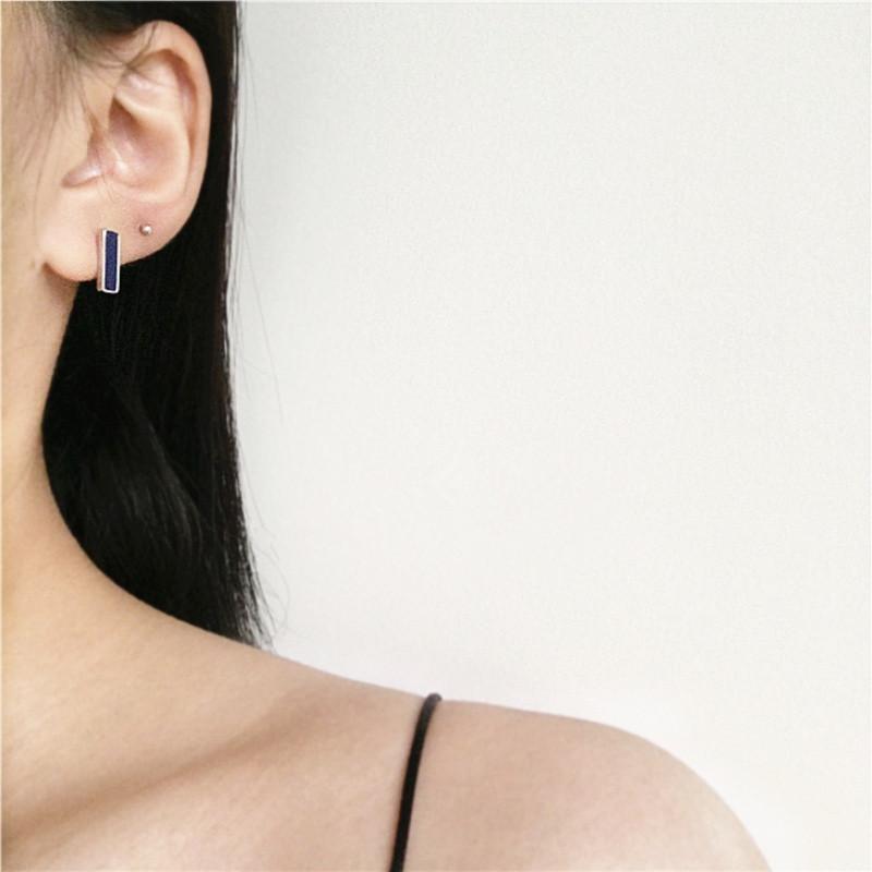 彩丽馆彩丽馆s925纯银耳钉天然青金石大理石纹路长方形几何耳饰女复古