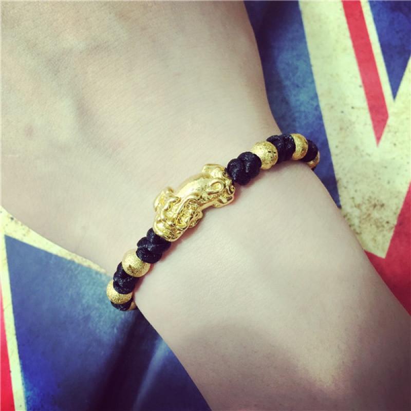 彩丽馆欧币金镀金男士女手链编织绳招财转运仿黄金貔貅越南沙金首饰送