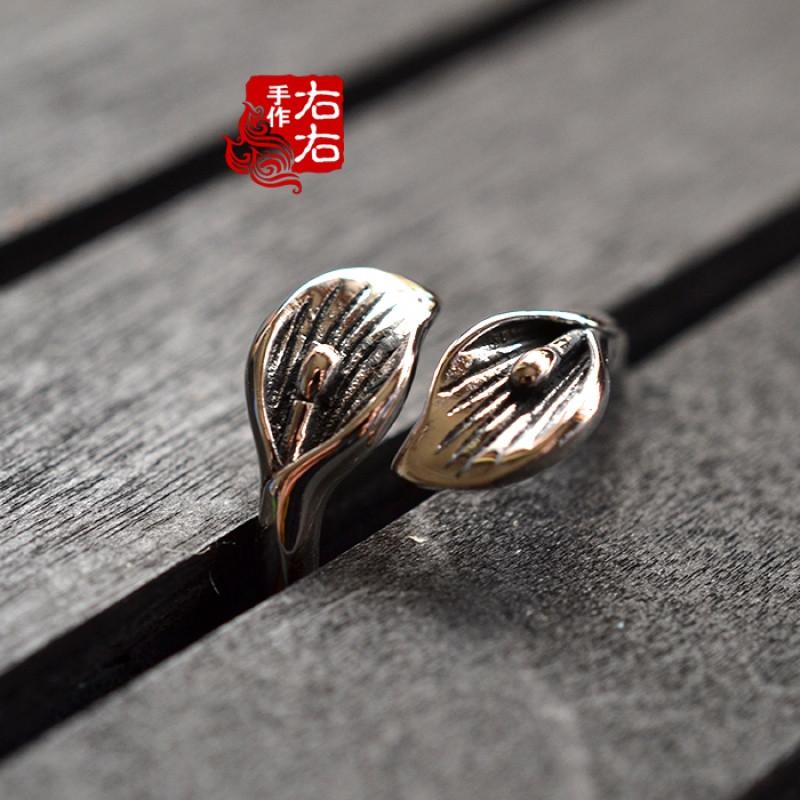 彩丽馆古风戒指925纯银戒指双头马蹄莲复古戒指泰银 女款开口戒包邮送