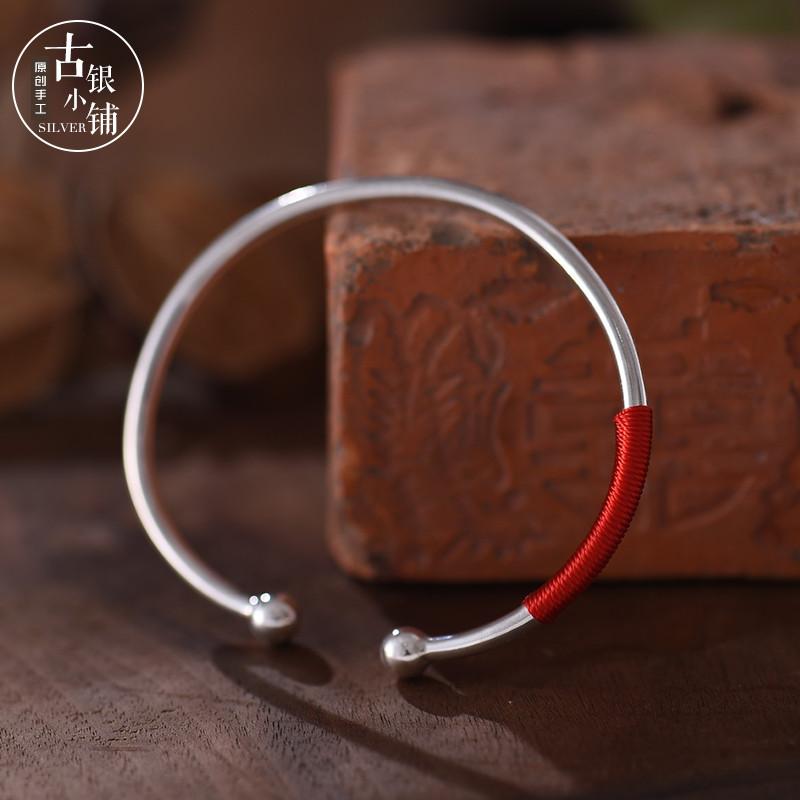 彩丽馆纯银实心圆球手镯925手工银光亮对珠银镯简约时尚红绳银手环
